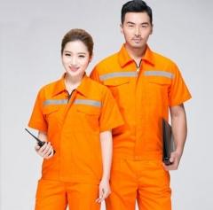 安富利夏季工作服短袖套装反光条薄款劳保服 橘黄套装 JC.1611