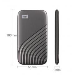 西部数据(WD) 500GB NVMe 移动固态硬盘(PSSD)My Passport随行SSD版 深空灰 防摔 加密 自动备份 Type-C PJ.828