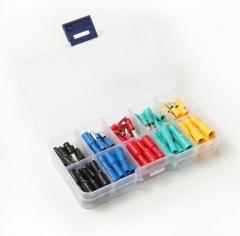 捷诺立 L10433 盒装五色子弹头对接端子彩色电线对接头公母对插冷压接线端子 五色绝缘端子0.5-1.5平方 50套 JC.1643
