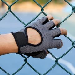 卡帝乐鳄鱼手套男半指学生薄款户外运动登山骑行男士护腕健身手套KDL728150 灰色 均码