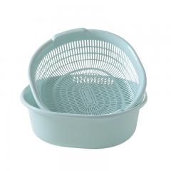 雅高 沥水篮 双层大号洗菜篮 厨房多功能圆形加大号洗菜盆子水果篮 蓝色 YG-C043