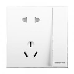 松下( Panasonic)开关插座面板 一开双控五孔插座面板 10A5孔1开墙壁插座 悦宸86型 WMWM623 白色