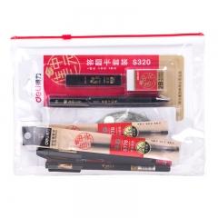 得力(deli)连中三元考试套装 绘图套尺+中性笔+涂卡铅笔+笔芯+橡皮 6696