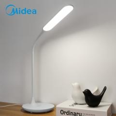 美的  (Midea)  LED插电台灯 国A级照度 减蓝光 三挡触摸调光 360°软管调整 品雅国A 珍珠白