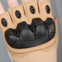卡帝乐鳄鱼战术手套半指防割防滑登山运动军迷户外训练护具健身男士手套K83S677 黄色 L