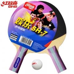 红双喜(DHS)乒乓球拍 对拍直拍家庭娱乐型SH-7套装 赠球