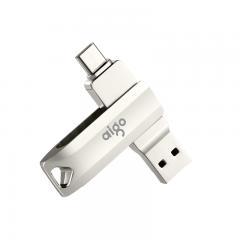 爱国者(aigo)128GB Type-C USB3.1 手机U盘 U351高速读写款 银色  双接口手机电脑用