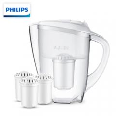 飞利浦(PHILIPS) wp2806 一壶四芯套装(含附件) 净水壶 家用滤水壶 净水器 净水杯 滤水杯