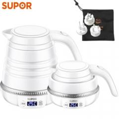 苏泊尔(SUPOR)电热水壶 SW-06J006 折叠水壶 便携式烧水壶 自动识别电压 多段调温旅行电水壶 0.6L