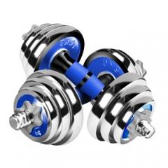 诚悦电镀哑铃杠铃15kg(7.5公斤*2)男女士体育运动健身器材家用组合套装CY-066