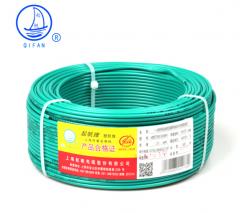 起帆(QIFAN)起帆电线电缆 ZB-BV2.5平方国标家装阻燃B级单芯单股铜芯硬线 绿色零线 100米