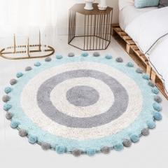 佳佰圆形地毯 地垫 床边毯 地毯 ins简约进口手工地毯 茶几毯 清爽蓝TTS-02-90*90CM