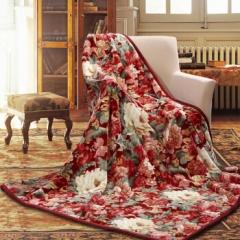 富安娜家纺加厚毛毯 家居用品秋冬保暖毯子 双人盖毯被 保暖厚床单褥子冬天 双层云毯塞纳舞曲 红色 1.8*2m  5.2斤