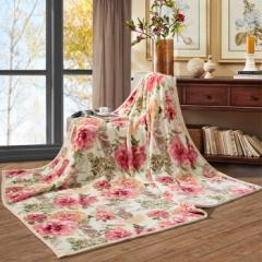 富安娜家纺家居用品 加厚毯子 秋冬加厚毛毯被  双人盖毯午休毯保暖床单冬天 双层舒柔毯四季狂想 红 1.8*2m 5.2斤