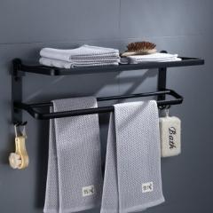 虎先森 免打孔毛巾架太空铝卫生间置物架黑色浴巾架浴室挂件