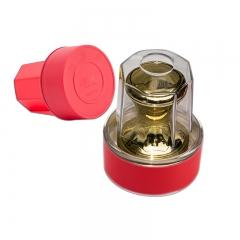 金隆兴(Glosen)圆形印章盒子公章盒印章收纳盒 银行财务用品 B8051 红色