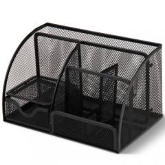 得力(deli)创意金属网纹办公笔筒 多功能七格桌面收纳摆件 办公用品 黑色9200