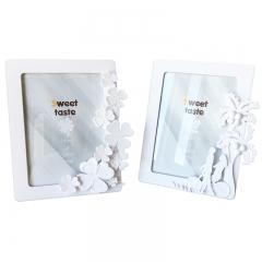 花间集 相框 7寸立体浮雕装饰ABS树脂简约风摆挂两用 幸运四叶草 象牙白