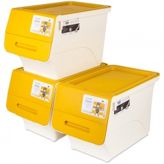 茶花 收纳箱塑料整理箱斜口翻盖可层叠储物箱34L 2885 3支装
