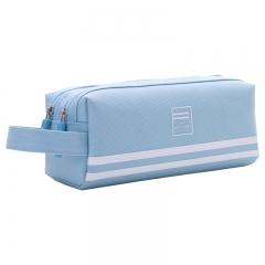 得力(deli)大容量手提多层笔袋/多功能牛津布铅笔收纳袋 冰蓝66772