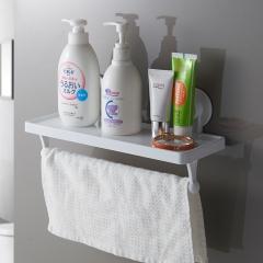 佳佰 强力吸壁单杆置物架卫生间浴室厨房毛巾架浴巾架置物架 不锈钢免打孔架置物