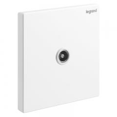 罗格朗 LEGRAND 开关插座面板 仕典玉兰白无边框大面板一位电视插座