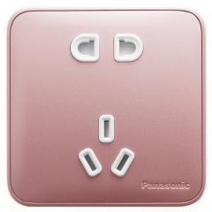 松下( Panasonic) 开关插座面板 五孔插座面板 10A5孔墙壁墙面插座 格彩系列86型  WPC122MYL 玫瑰金色