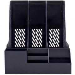 得力(deli)三联带笔筒收纳桌面文件框 多功能镂空文件栏/文件框/资料筐 办公用品 黑色78980