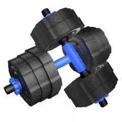 凯速蓝款环保哑铃20公斤(10kg*2)可拆卸男士包胶手铃杠铃套装家用运动健身器材 送连接杆