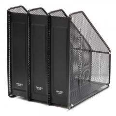 得力(deli)三联镂空金属网材杂文件框 A4文件座文件框杂志盒 办公用品 黑色9197