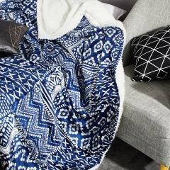 佳佰 毛毯 毯子 双层仿羊羔绒毯 办公室夏季毛毯被子 学生毯盖毯  单人毯 午休毯 蓝印花 180*200 2.6斤