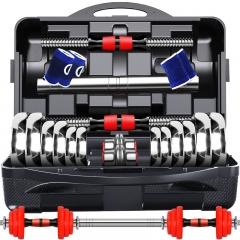 诚悦电镀哑铃杠铃20kg(10公斤*2)升级款男女士体育运动健身器材家用组合套装带连接杆CY-269