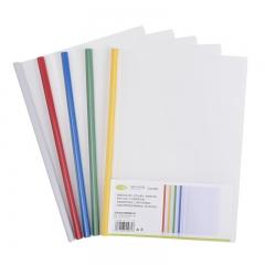 正彩(ZNCI)A4透明抽杆夹/文件夹/拉杆夹/报告夹 办公用品文具10个装 1405混色