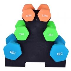 诚悦浸塑磨砂男女士通用哑铃运动健身瘦臂家用训练套装 1.5/2/4公斤 约33磅 3对套装 送三角哑铃架CY-103