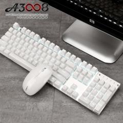 黑爵(AJAZZ)A3008机械键鼠套装 无线机械键鼠套装 游戏键鼠套装 充电双模键鼠 白色背光 白色 青轴