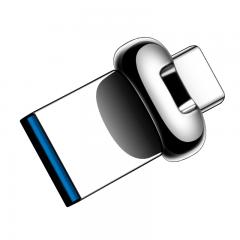 爱国者(aigo)128GB Type-C USB3.1 手机U盘 U358 银色 金属mini款 双接口 手机电脑用