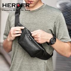 赫登尔 herder 胸包真皮男士商务斜挎包简约时尚挎包休闲运动潮流单肩包 C9423黑色