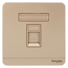 施耐德电气(Schneider Electric)开关插座 单联超五类电脑信息网线网络插座面板 绎尚系列 薄暮金色