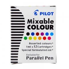 日本百乐(PILOT)平行笔彩色墨胆 日本百乐钢笔水性颜料墨水囊 12色装 IC-P3-AST原装进口