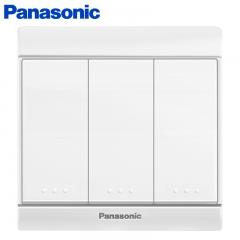 松下( Panasonic)开关插座面板 三开单控开关面板 3开单控墙壁开关 佳典纯系列86型 WMS505 白色