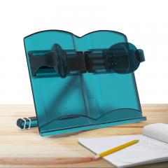 猫太子(MAOTAIZI)M394C阅读架单手翻书便携书架可伸缩书夹儿童读书挡书立学生文具成人看书支架(半透明) 蓝绿色