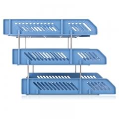得力(deli)三层镂空收纳文件座 自由拆卸组装三层文件盘/文件框 办公用品 蓝色9209