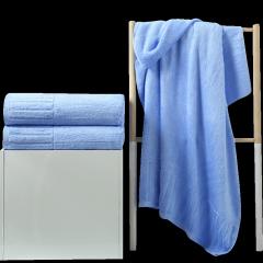 竹之锦 毛巾套装 竹浆纤维竖条缎档加厚成人大浴巾 70*140cm  蓝