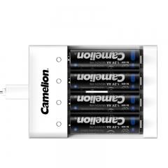 飞狮(Camelion)BC-0807S 4槽USB充电套装配4节5号2000毫安充电电池 闪光灯/鼠标/话筒