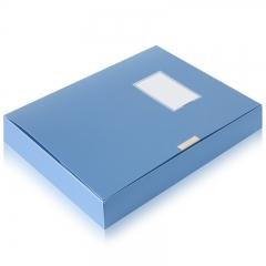 得力(deli)12只 55mm便携可折叠档案盒 A4文件盒资料盒 蓝5643