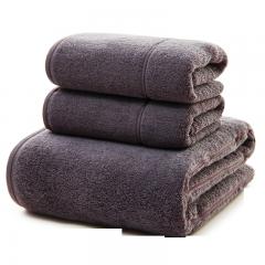 三利 长绒棉A类标准 素色良品毛巾2条+浴巾1条 三件组合装 平布接缝 随心裁剪多规格巾类 墨灰色