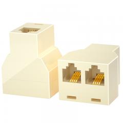 山泽(SAMZHE)电话分线器 电话线一分二延长器 RJ11直通三通头分支分线器 1分2转接盒转接头口 SZ-6002