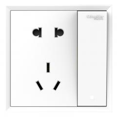 施耐德电气(Schneider Electric)带开关插座 10A五孔插座带单控开关 皓朗系列 清雅白色C2E15_10US_WE