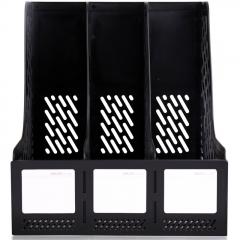 得力(deli)三联镂空桌面文件框 三栏带标签稳固文件栏/文件筐/资料框 办公用品 黑色9845