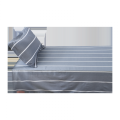 迎馨家纺 单人全棉床单斜纹印花学生宿舍纯棉床单单件床上用品床品套件1.2米床 条纹旅行A版 155*230cm